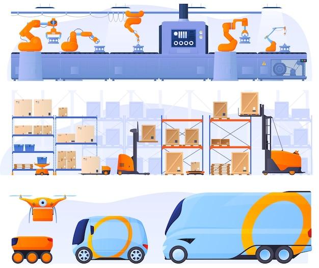 Geautomatiseerde lopende band met behulp van robots. redelijke montage in een magazijn. logistiek, levering van goederen zonder menselijke tussenkomst, drones Premium Vector
