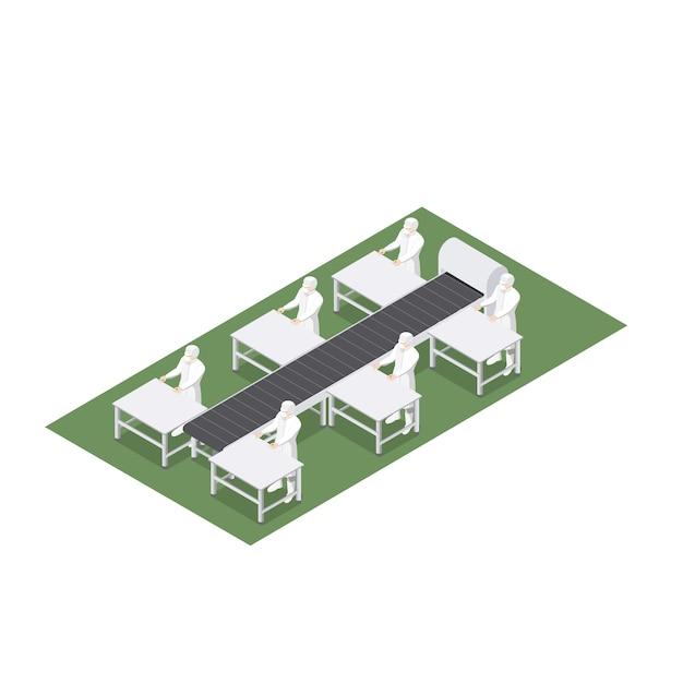 Geautomatiseerde productielijn met transportband in food engineering Premium Vector