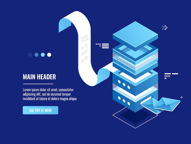 Geautomatiseerde verzending van e-mailberichten, online adverteren en promotie, mailserverruimte Gratis Vector