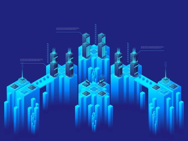 Geavanceerd technisch concept. supercomputer. groot datacenter. netwerkcomputerservers. cryptocurrency-markt. gedetailleerde isometrische illustratie. Premium Vector