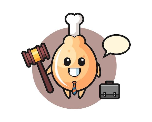 Gebakken kip mascotte als advocaat Premium Vector