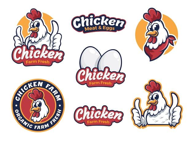 Gebakken kip restaurant logo sjabloon Premium Vector