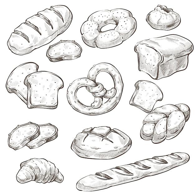 Gebakken product, brood en broodjes monochroom Premium Vector