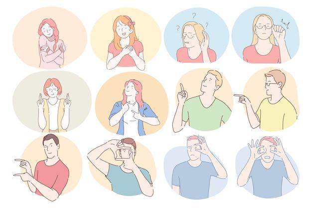 Gebarentaal, gebaren, handen communicatieconcept. jonge jongens en meisjes stripfiguren Premium Vector