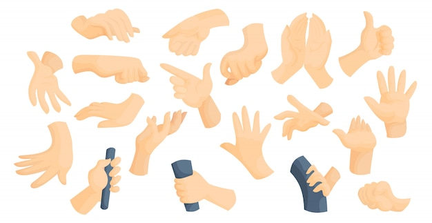 Gebarentaal idee plat handen gebaren vector illustratie set Premium Vector