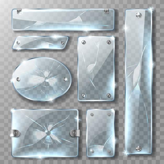 Gebarsten glas met metalen bouten Gratis Vector