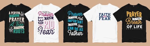Gebed t-shirt ontwerpt typografie citaten bundel, set van bidden t-shirt design bundel collectie Premium Vector