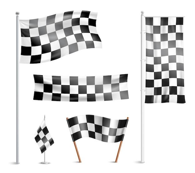 Geblokte vlaggen pictogrammen collectie Gratis Vector