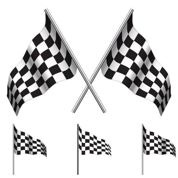 Geblokte vlaggen racen Premium Vector