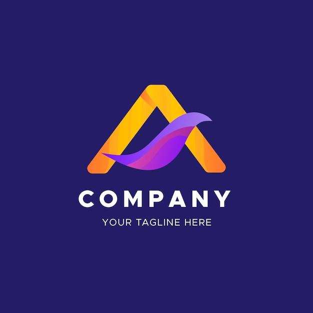 Gebogen abstract blad logo business sjabloon Gratis Vector