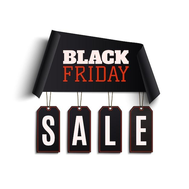 Gebogen papier banner met zwarte prijskaartjes geïsoleerd op wit Premium Vector