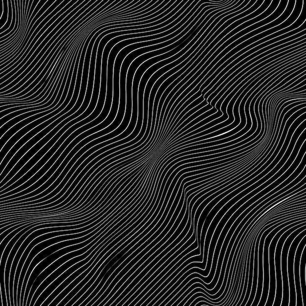 Gebogen witte lijnen op zwarte achtergrond, abstract patroon Premium Vector