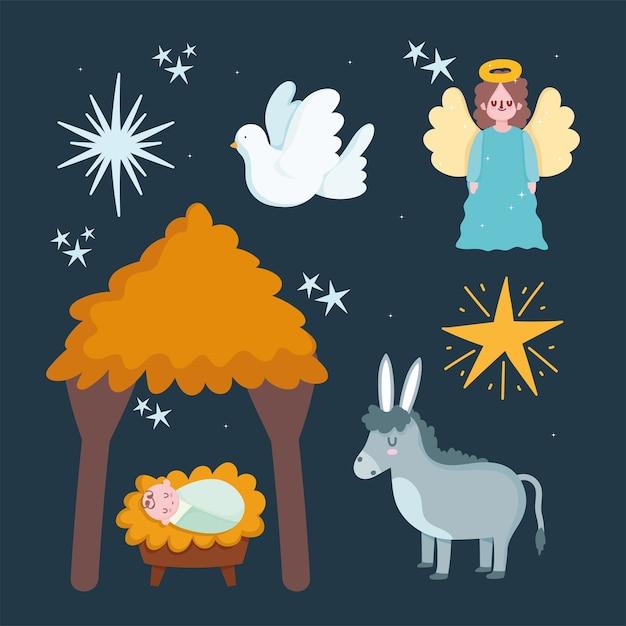 Geboorte, kribbe baby jezus hut ezel engel en ster cartoon afbeelding Premium Vector