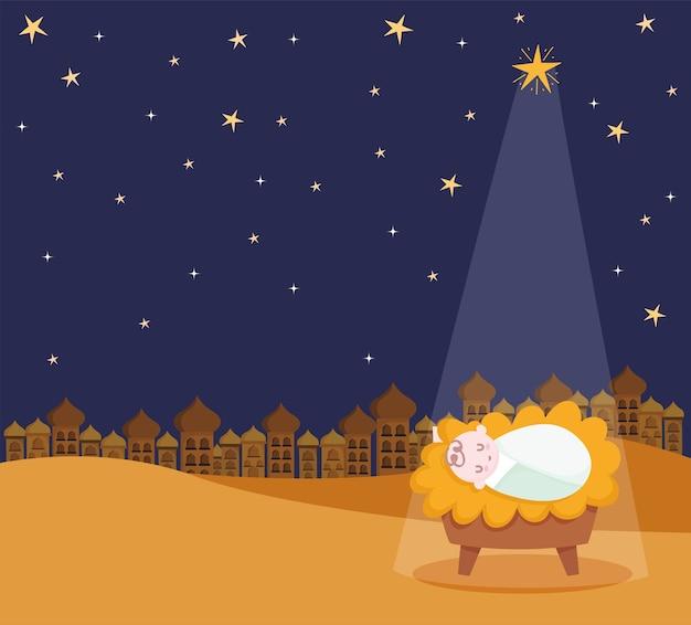 Geboorte, kribbe baby jezus ster en lichte cartoon afbeelding Premium Vector
