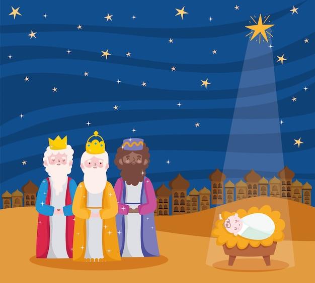 Geboorte, kribbe drie wijze koningen en baby jezus met ster cartoon afbeelding Premium Vector