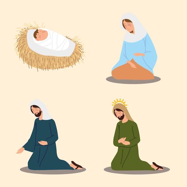 Geboorte kribbe karakter mary joseph baby jezus iconen vector illustratie Premium Vector