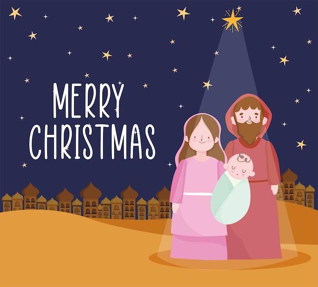 Geboorte, kribbe mary baby jezus en joseph cartoon afbeelding Premium Vector