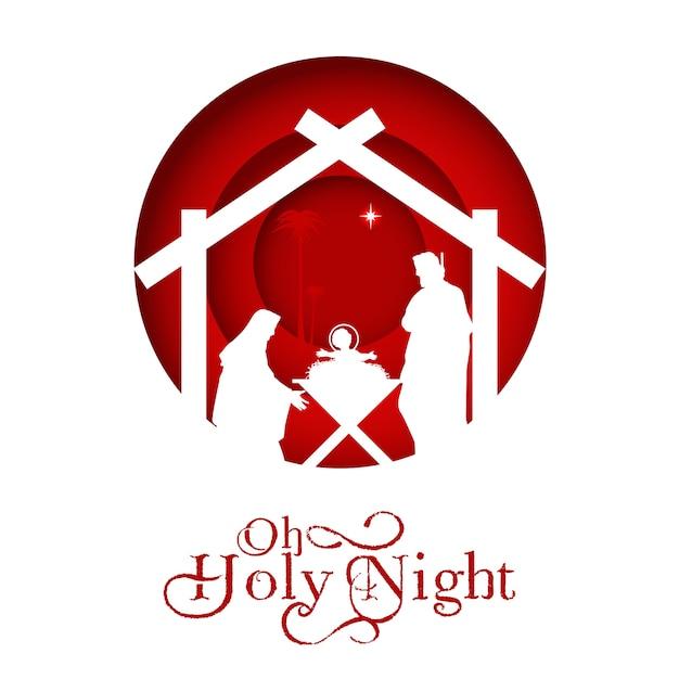 Geboorte van christus, silhouet van maria, jozef en jezus, Premium Vector