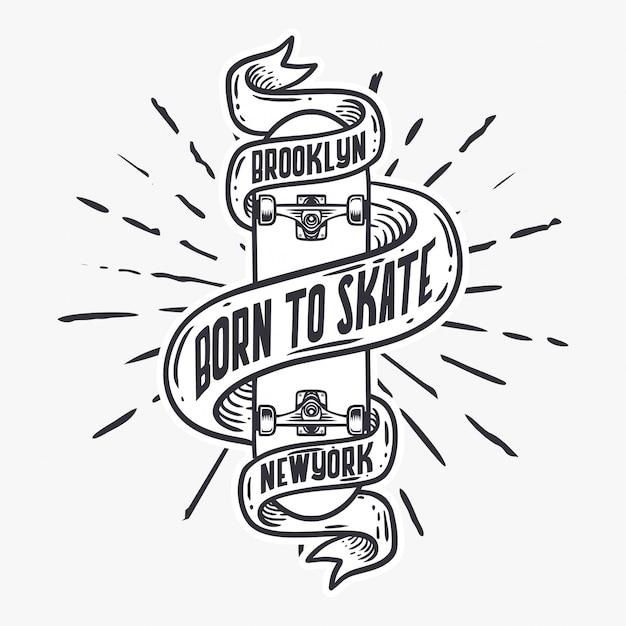 Geboren om skateboard uitstekende illustratie te schaatsen Premium Vector