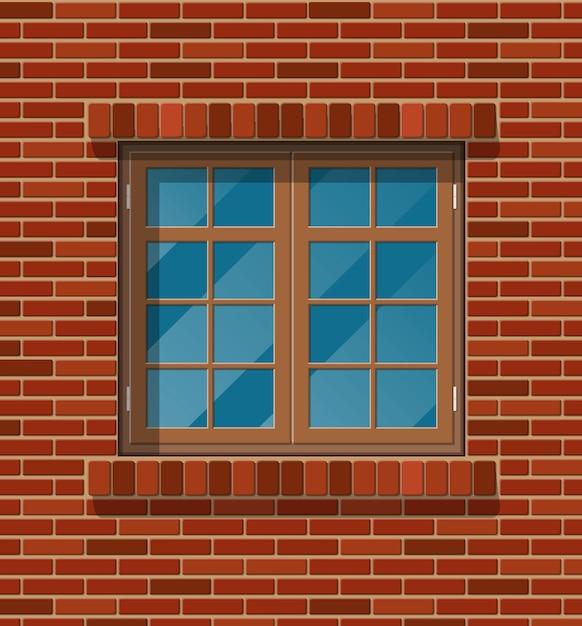 Gebouw gevel. houten klassiek venster in bakstenen muur. Premium Vector