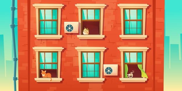 Gebouw gevel met bakstenen muur en ramen Gratis Vector
