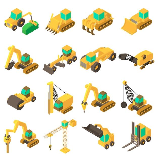 Gebouw voertuigen pictogrammen instellen. isometrische cartoonillustratie van 16 bouwvoertuigen vectorpictogrammen voor web Premium Vector