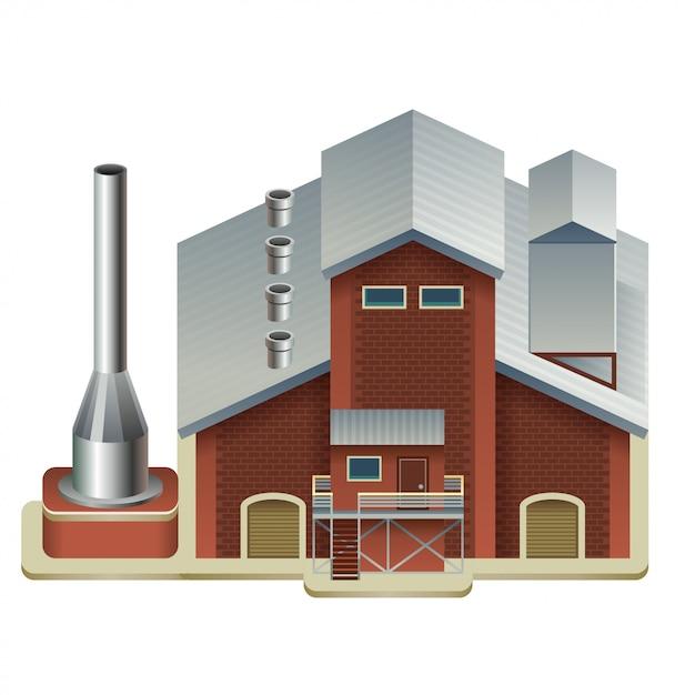Gebouw voor industriële fabricage Premium Vector