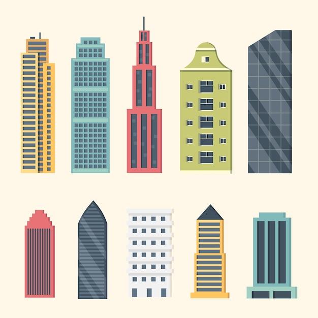 Gebouwen en wolkenkrabbers in het centrum. grote stad gebouwen illustratie. kantoorappartement en huis residentiële buitenkant. Premium Vector