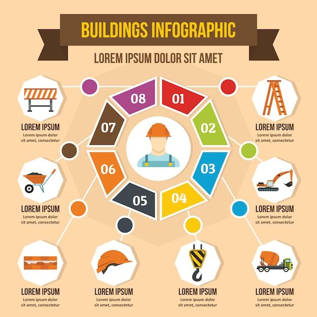 Gebouwen infographic concept, vlakke stijl Premium Vector