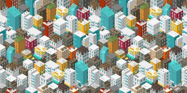 Gebouwen stad naadloze patroon. isometrisch bovenaanzicht. vector stad stadsstraat. Premium Vector