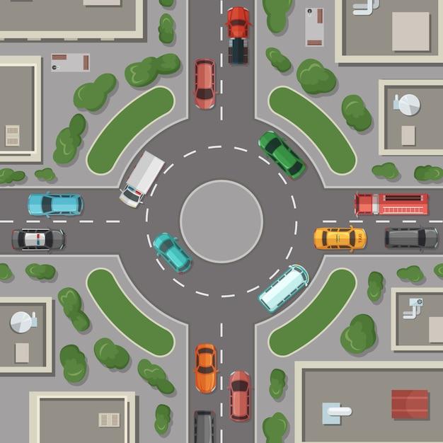 Gebouwen van de stad, wegen en auto's bovenaanzicht illustratie Premium Vector