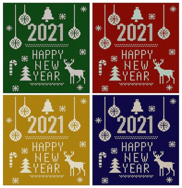 Gebreid lettertype, elementen en randen voor kerstmis, nieuwjaar of winter Premium Vector
