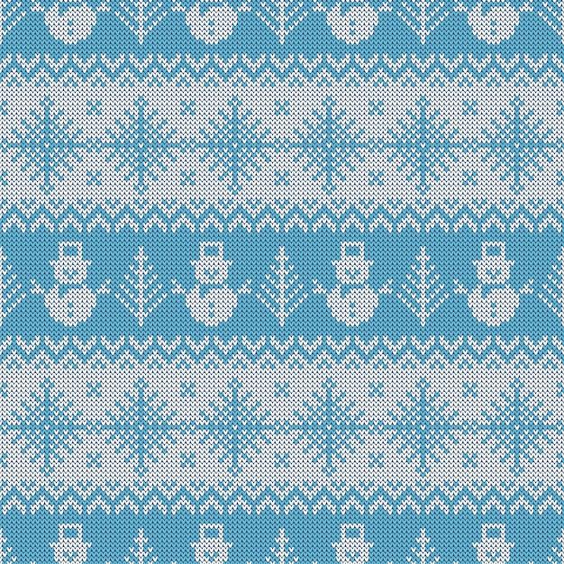 Gebreid naadloos patroon met sneeuwmannen en sneeuwvlokken. Premium Vector