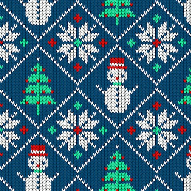 Gebreide kerst patroon Gratis Vector