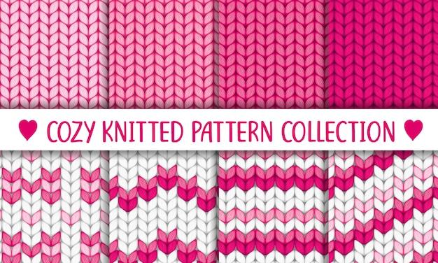 Gebreide patrooncollectie roze en wit, babymeisje Premium Vector