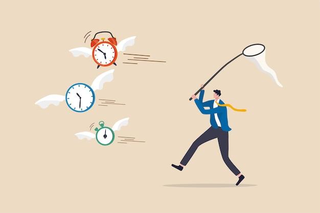 Gebrek aan tijd of bijna geen tijd, aftellen voor de deadline van het werkproject of de tijd is een waardevol ding in het levensconcept Premium Vector