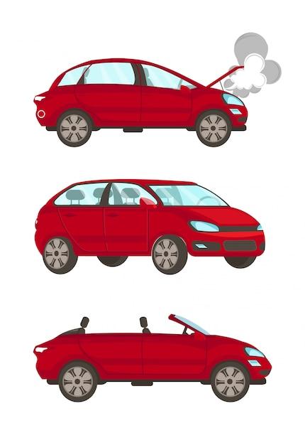 Gebroken auto platte cartoon vectorillustraties instellen Premium Vector
