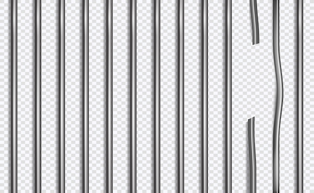 Gebroken gevangenisrooster of bars in 3d stijl op geïsoleerde achtergrond Premium Vector