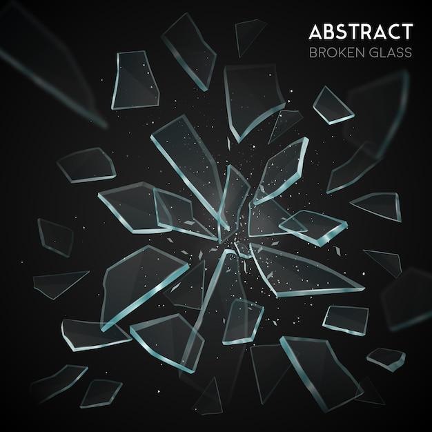 Gebroken glas flying fragments dark background Gratis Vector