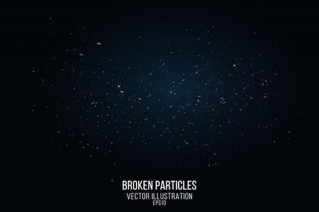 Gebroken glaseffect met kleine deeltjes geïsoleerd op een zwarte achtergrond. vliegende fragmenten en een blauwe gloed. vector illustratie Premium Vector