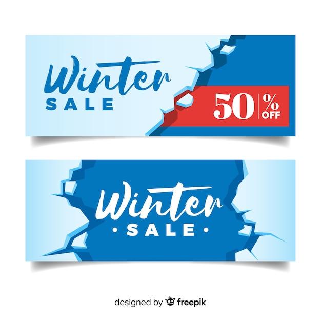 Gebroken ijs winter verkoop banner Gratis Vector