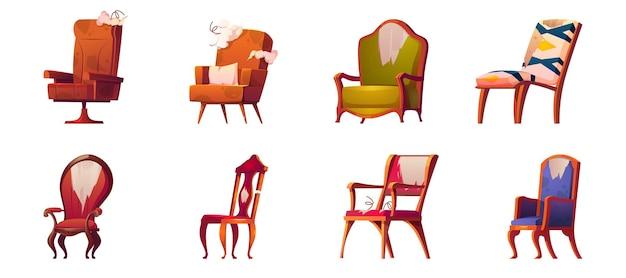 Gebroken stoelen en fauteuils oude meubels geïsoleerde set Gratis Vector