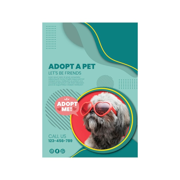 Gebruik een poster-sjabloon voor huisdieren Gratis Vector
