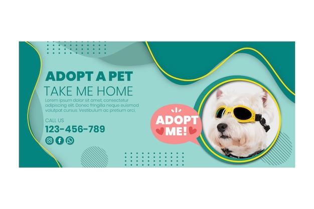 Gebruik een sjabloon voor een horizontale banner voor huisdieren Gratis Vector
