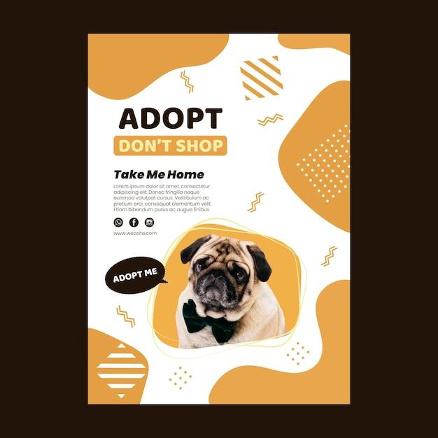 Gebruik een sjabloon voor een verticale poster voor huisdieren Gratis Vector