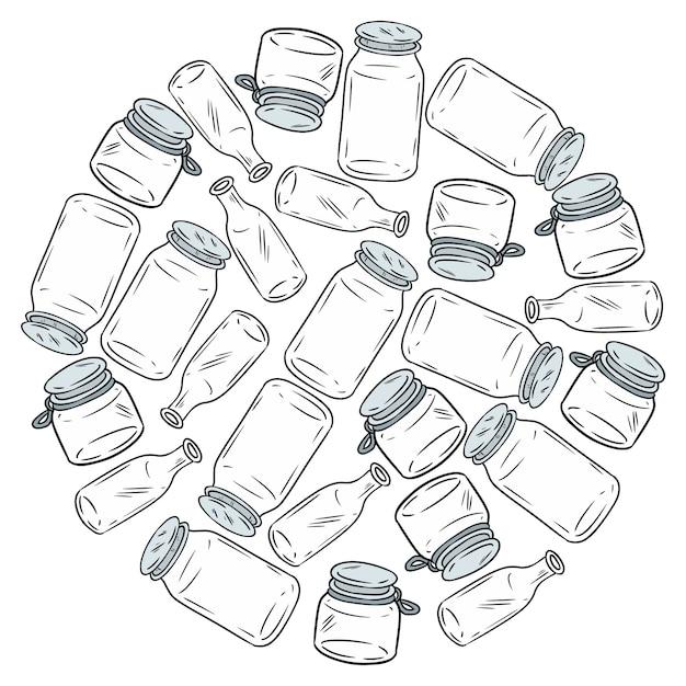 Gebruik minder plastic glazen potten bal. motiverend beeld. ecologisch en geen afval. ga groen Premium Vector