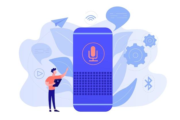 Gebruiker met spraakgestuurde slimme luidspreker of stemassistent. spraakgestuurde digitale assistenten, domotica-hub, internet of things-concept. vector geïsoleerde illustratie. Gratis Vector