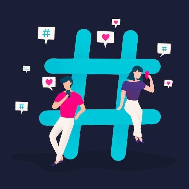 Gebruikers met een hashtag-vector Gratis Vector