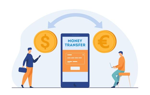 Gebruikers van mobiele banken die geld overmaken. valutaconversie, kleine mensen, online betaling. cartoon afbeelding Gratis Vector