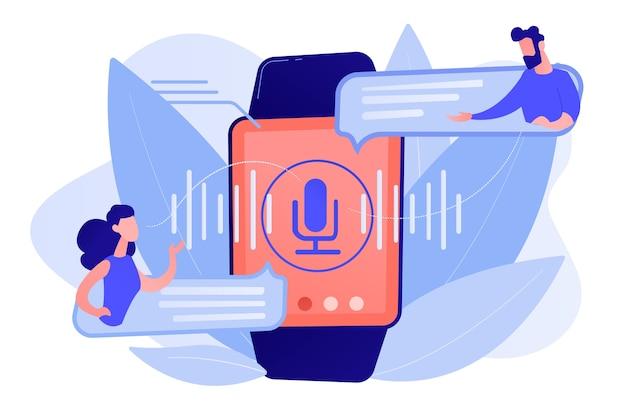 Gebruikers vertalen spraak met smartwatch. digitale vertaler, draagbare vertaler, elektronische taal vertaler concept pinkish coral bluevector geïsoleerde illustratie Gratis Vector